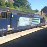 Loco hauled service running to from Carlise via Barrow and Cumbian coast at Lancaster